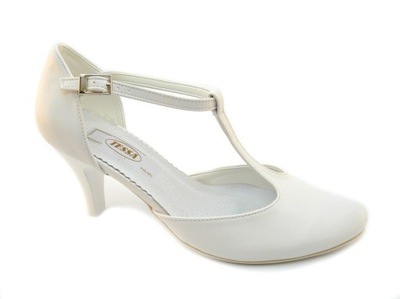 4555a5ee07be Buty ślubne białe z paskiem i ozdobą OUTLET 37 - 7612431089 ...