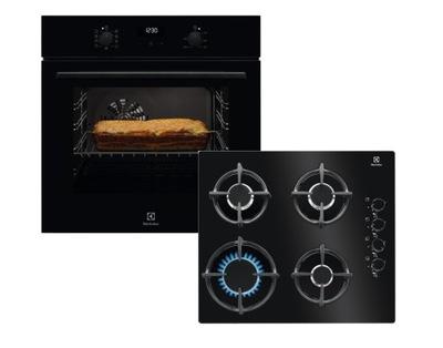 Черный комплект печь плита газовая Electrolux