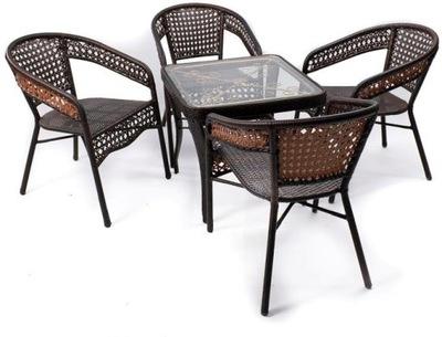 sada záhradný stôl so 4 stoličkami ratan technorattan