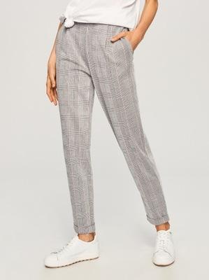 RESERVED cygaretki spodnie w kratkę z lampasem 42