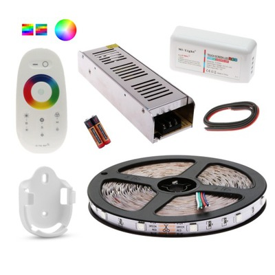 NASTAVIŤ 5m LED Pás 5050 RGB BIELA DIAĽKOVÉ ovládanie DOTYKOM
