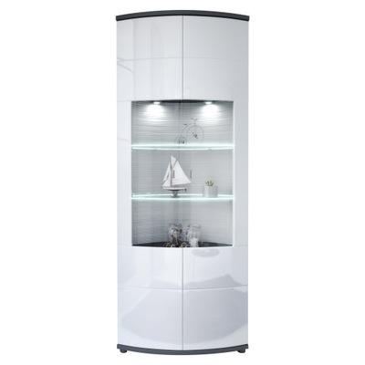 Современная высокая витрина LED белая Графит Ворота