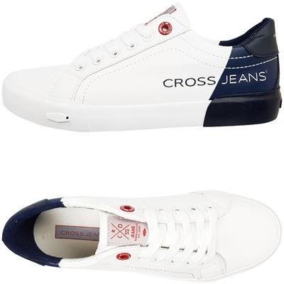Trampki CROSS Jeans białe granatowe EE2R4018C 41