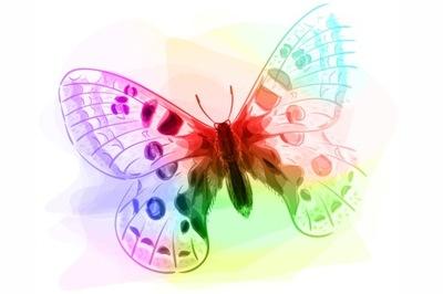 Настенные фрески для детей Бабочка цвета радуги 48 ОБРАЗЦОВ