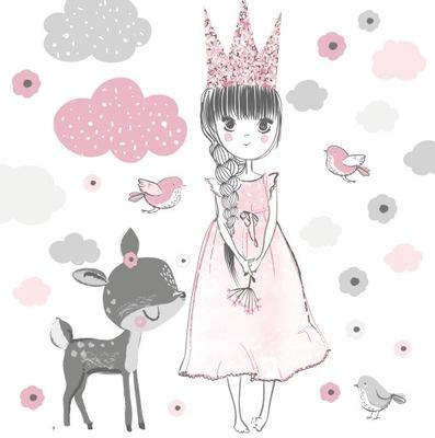 Nálepka na stenu PRINCESS princezná jeleň