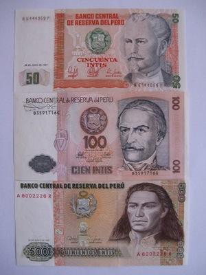 Перу - 50 ,100 ,500 Intis - 1987 -P131,133,134 - .1
