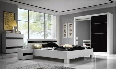 Мебель спальни комплект кровать шкаф Белый зеркалом