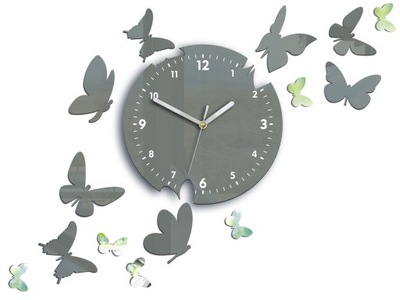 часы НА СТЕНУ УЛЬТРА-ТИХИЙ 14 БАБОЧКИ ГРЕЙ