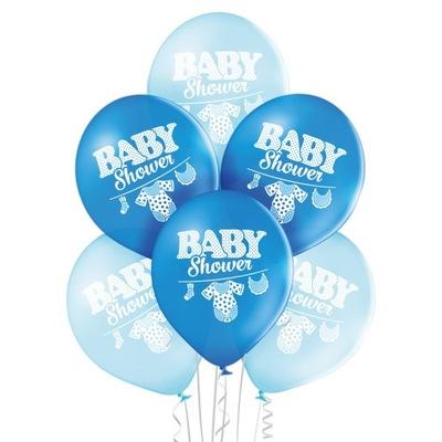 Balony Baby Shower Boy chłopiec niebieskie 6szt