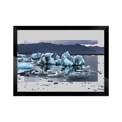 Obraz zimy Lody w Islandii pejzaż marina z ramą