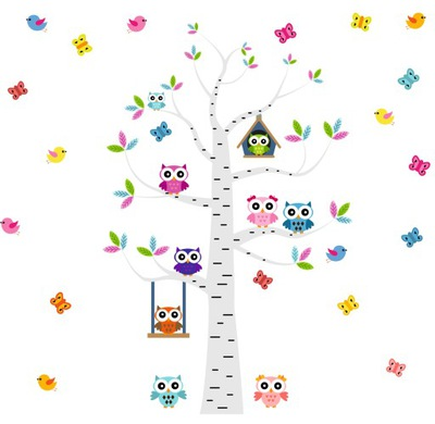 Samolepky na stenu pre detský stromček OWLS 250x190 cm