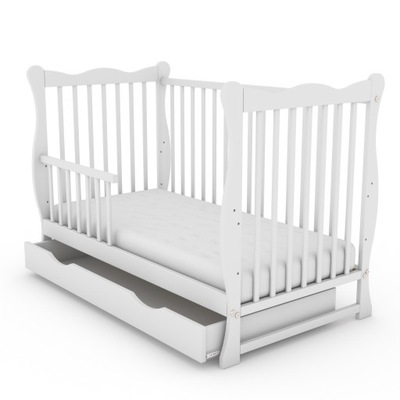 Детская кроватка/софа ЮЛИЯ белое с ящиком +матрас