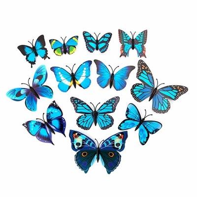 бабочки 3D наклейки МАГНИТ НА СТЕНУ ЦВЕТА 10 штук