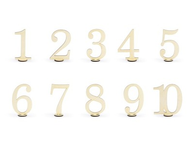Drewniane numery na stół ŚLUB WESELE