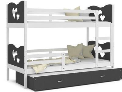 Poschodové postele 190x80 MAX 3 sivá biela + matrac