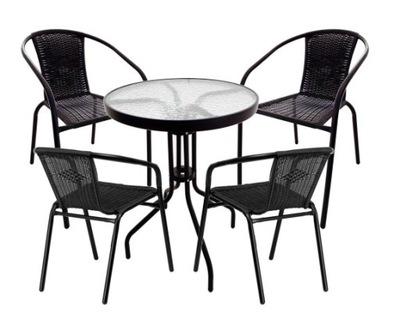 комплект садовый стол BISTRO + 4 стулья РОТАНГА