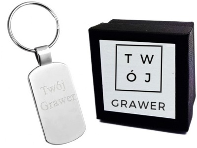Brelok Metalowy Gładki do Kluczy Grawer + ETUI