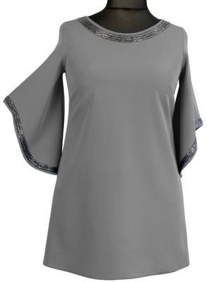 Tunika bluzka trapez elegancka wizytowa szara 54