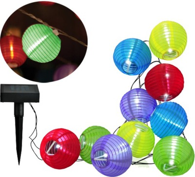 ГИРЛЯНДА  огни садовое цветные шарики 10шт