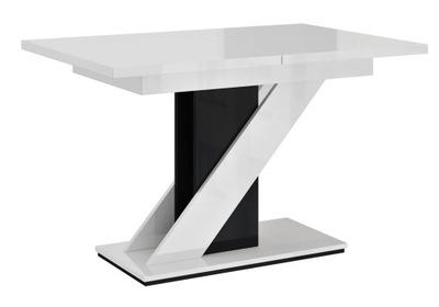 стол раскладной 120-160 BiałyCzarny блеск +