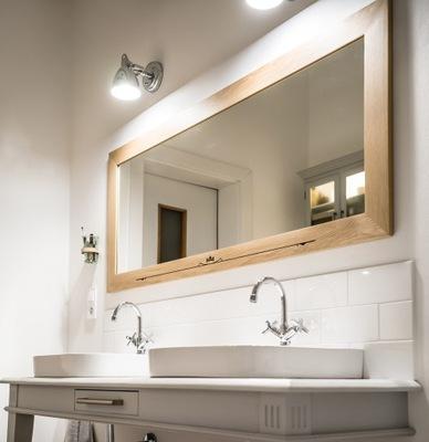 Lustro W Prawdziwej Dębowej Ramie Salon łazienka