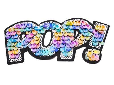СТРАЗЫ полоса надпись POP! цветные СТРАЗЫ термо
