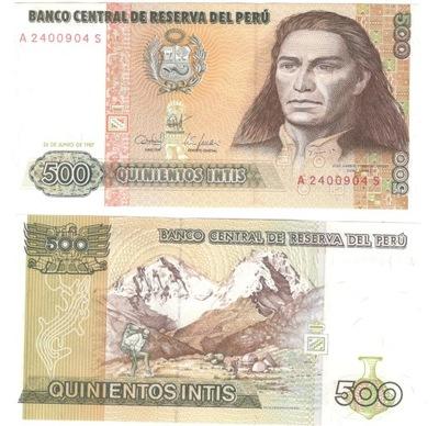 PERU 500 INTIS 1984 UNC