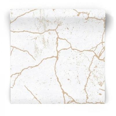 Обои, потрескавшийся Мрамор золото белая гламур