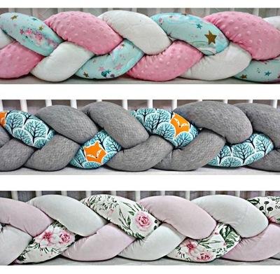 Chránič na posteľ detská postieľka pletené vrkôčiky knot 180 cm