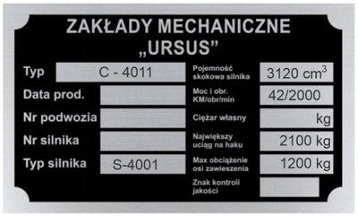 TABLICZKA ZNAMIONOWA URSUS C 4011 C4011 - wybita