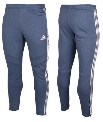 spodnie dresowe adidas męskie bawełniane niebieskie pasy