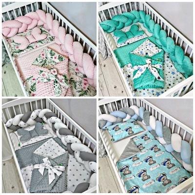 Chránič na posteľ detská postieľka pletené vrkôčiky knot 300 cm