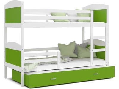 Poschodová posteľ evanjelium podľa MATÚŠA 3 biela zelená 200x90