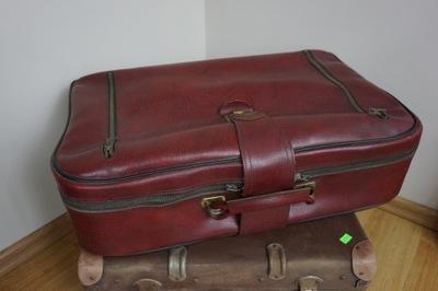 сумка ПНР дипломат Чемодан вишнево-красный bordowa винтаж