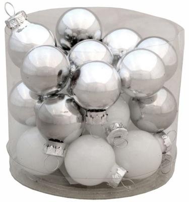 Bombki Choinkowe Szklane Srebrno - Białe 24 szt