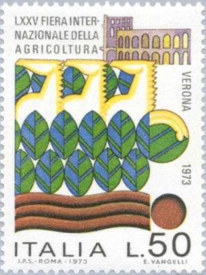 Włochy 1973 Znaczek Mi 1392 ** rolnictwo targi