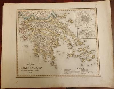 Антиквариат -карта Neuste Карту Griechenland 1849 года