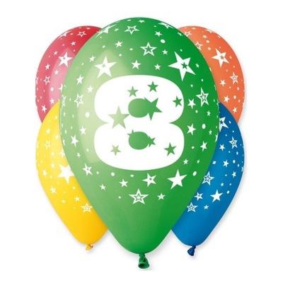 Воздушные шары на день Рождения с рисунком -Циферка № 8 - 5  штук .