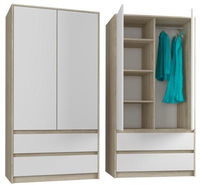 шкаф гардероб 90см 2d 2sz сонома микс Белый B -9