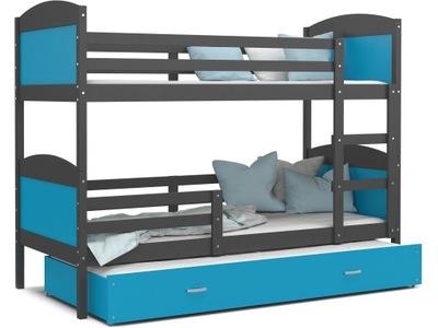 Poschodová posteľ evanjelium podľa MATÚŠA 3 sivá modrá 190x80