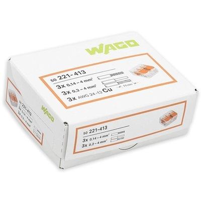 WAGO rýchly konektor pre DRÔT/KÁBEL 3x4mm 221-413 50 Ks