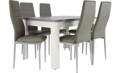 Бело Серый стол 80x120/160 и 6 стульев с ekoskóry
