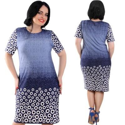 5c5e6103039a49 Sukienka midi w geometryczny wzór pastelowa 2XL - 7732725456 ...