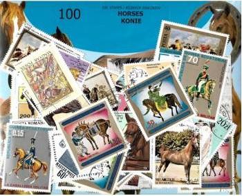 комплект 100 почтовые марки - ЛОШАДИ
