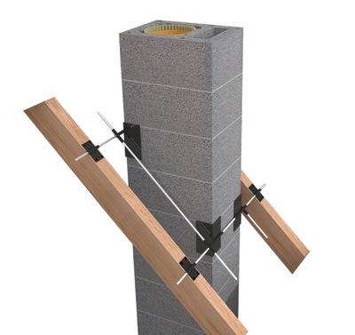 Mocowanie komina do więźby dachowej krokwi komin