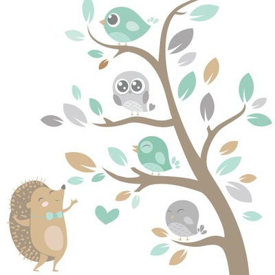 Samolepky na stenu JEŻYK BIRDS TREE