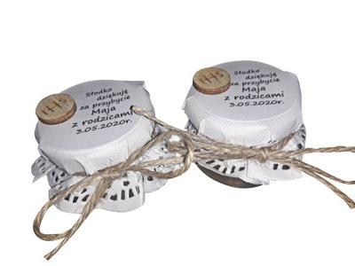Słoiczki dla gości podziekowania komunia miodek #