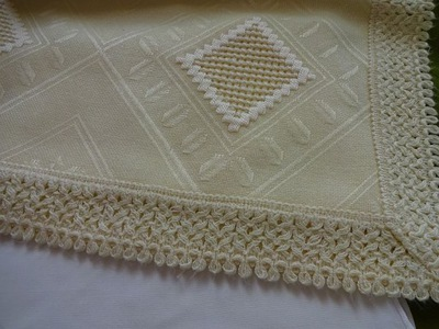 Скатерть кремовый с вышивкой хардангер