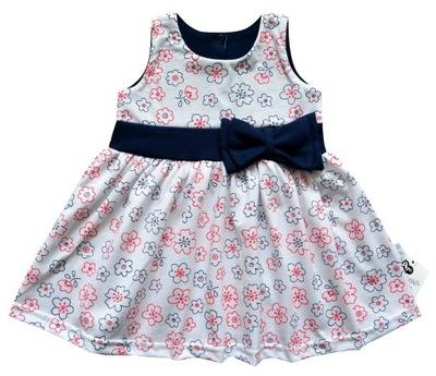 a5e25ff0e7 Elegancka sukienka kwiatuszki kokarda 80 cm