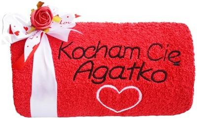 PIĘKNY DUŻY Ręcznik z Haftem Prezent na Walentynki